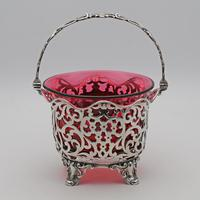 Victorian Silver & Cranberry Glass Basket (2 of 4)