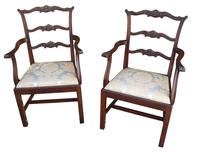 Pair of Mahogany Childrens Chairs Chippendale Style c.1910 (2 of 3)