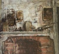 Original oil on canvas, laid on to board 'The old fire place' by Rozanne Palmer Framed c.1960 (2 of 3)