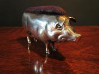 Large Antique Solid Silver Pig Pin Cushion (8 of 8)