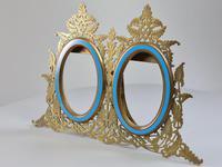 Stunning 19th Century 'Lovegrove & Flint' Double Brass & Turquoise Enamel Frame (2 of 8)