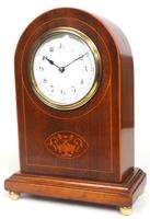 Impressive Solid Mahogany Arched Top Cased Timepiece Clock with Satinwood Inlaid Decoration (9 of 10)