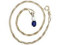 0.74ct Sapphire & 0.28ct Diamond, 18ct White Gold Pendant - Vintage c.1950 (2 of 9)