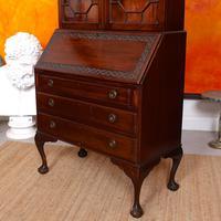 Secretaire Bureau Bookcase Astragal Glazed Mahogany Library Cabinet Edwardian (7 of 14)