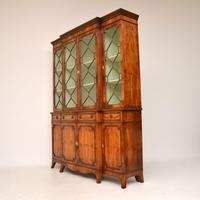 Antique Yew Wood Sheraton Style Breakfront Bookcase (10 of 12)