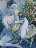 Watercolour Nude with Cat Listed Artist James Gorman (10 of 14)