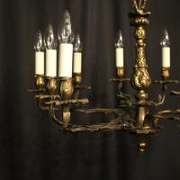 French Gilded Brass 10 Light Antique Chandelier (10 of 10)