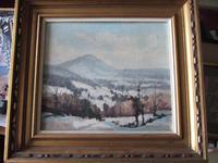 "Aubrey R Phillips RWA (1920-2005):  Oil On Board Landscape ""Winter at Malvern"" (5 of 5)"