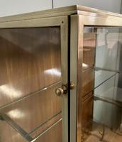 Brass Glazed Shop Display Cabinet on Wooden Stand with Drawer (8 of 13)