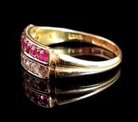 Antique Victorian Ruby, Diamond and Pearl Ring, Double Row, 15ct Gold (5 of 12)