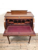Antique Edwardian Mahogany Inlaid Cylinder Top Desk (14 of 14)