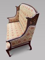 Art Nouveau Mahogany Inlaid Salon Settee (2 of 5)
