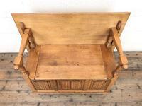 Antique Panelled Pale Oak Monk's Bench (m-2300) (6 of 9)
