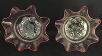 Pair of  Victorian Cranberry Edged Fluted  Glass Bowls. (4 of 4)