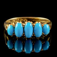 Antique Edwardian Turquoise Ring 18ct Gold Dated 1913 (6 of 7)
