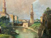 Large Early 1900s North African Cityscape with Mosque Oil Painting on Canvas (7 of 15)
