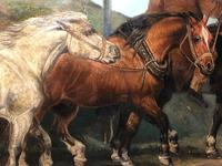"""Victorian 19th Century Oil Painting Horses """"On The Road"""" To Chester Edward Lloyd Ellesmere (31 of 56)"""