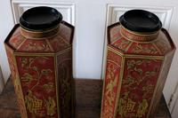 Matching Pair of Octagonal Toleware Canisters (6 of 6)