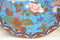 Antique Chinese Large Cloisonne Dish Decorated With Two Storks in Flight (4 of 10)