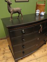 Antique Painted Black Bow Front Chest of Drawers, Gothic Shabby Chic (15 of 19)