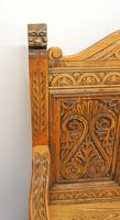 Good Quality  Reproduction  Carved Oak Settle or Hall Seat (3 of 17)