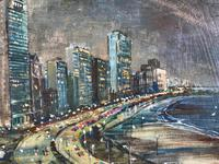 Original Oil on Canvas Paper 'City by the Sea' by Barbara Brassey - Signed c.1965 (2 of 2)