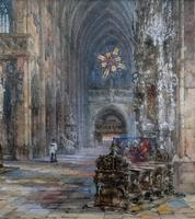 Sir Wyke Bayliss PRBA HRMS Rose Window Brussels Watercolour Painting (7 of 16)