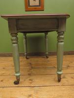 Antique Writing Table with Painted Duck Egg Base & Drawer (12 of 16)