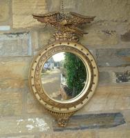 Regency Style Circular Convex Mirror Eagle Crest (2 of 6)