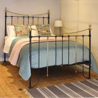 Brass & Iron Antique Bed in Black