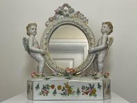 Pair of Small Dresden Victorian Style Porcelain Cherub Table Mirrors (41 of 60)