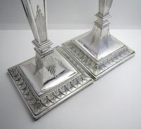 """Antique Victorian 10"""" tall ADAM STYLE Silver Plated English Candlesticks Candle Holders (4 of 9)"""
