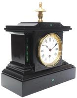 Amazing French Slate Mantel Clock Timepiece Mantle Clock with Machilite Inlay (5 of 11)