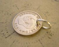 Vintage Pocket Watch Chain Fob 1941 WW2 Lucky Silver Three Pence Old 3d Coin Fob (6 of 6)
