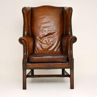 Antique Leather & Mahogany Wing Back Armchair (5 of 11)