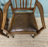 Unusual Pair of Edwardian Oak Carver Chairs by JAS. Shoolbred (7 of 8)