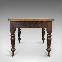 Antique Kitchen Table, English, Extending, Scrub Top, Dining, Victorian c.1870 (8 of 12)
