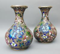 Pretty Pair of Chinese Cloisonne Champleve Vases (4 of 9)