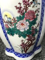Pair Chinese Conjoined Porcelain Floral Birds Qianlong Vases (12 of 12)