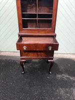 Antique Slim Figured Walnut Bookcase (8 of 12)