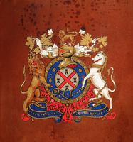 British Very Interesting Coat of Arms Shooting Stick / Umbrella / Walking Stick Leather Stand c.1920/1940 (5 of 5)