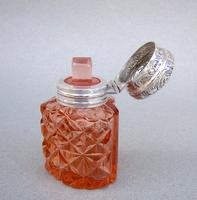 Unusual Victorian Silver & Cut Glass Heart-shaped Scent Bottle c.1895 (5 of 8)