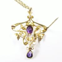 Antique Gold Amethyst And Seed Pearl Necklace (6 of 8)