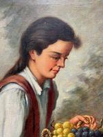 The Fruit Seller - Attractive Original Early 1900s Italian Oil Portrait Painting (7 of 10)