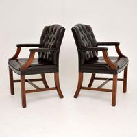 Pair of Antique Georgian Style Leather Gainsborough Armchairs (7 of 9)