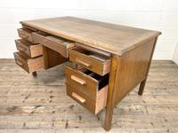 Early 20th Century Antique Oak Pedestal Desk (7 of 9)