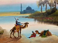 Arabic School - Wonderful Early 20th Century Arabian Camels in Landscape Oil Painting (7 of 12)