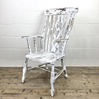Distressed Painted Antique Windsor Armchair