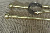 Set of Aesthetic Movement Brass Fire Irons Poker Tongs Shovel c.1880 (4 of 10)