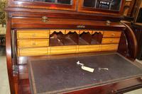 1900's Large Mahogany Cylinder Bureau Bookcase with Key (3 of 6)